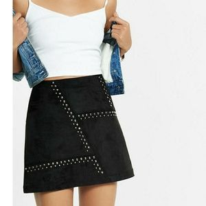 New faux suede studded a line mini-skirt